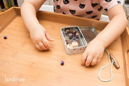 pärlite nõelaharjutus bead threading activity