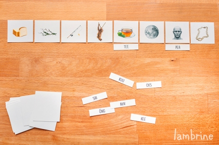 montessori 3-osalised kaardid lugema õppimine