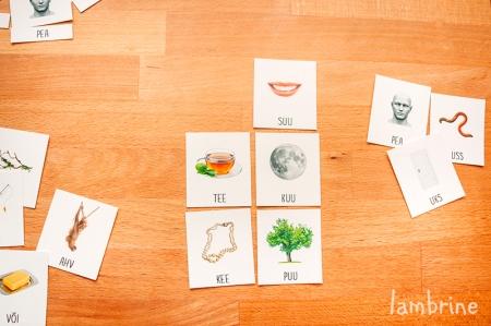 montessori kolmeosalised kaardid lugemise harjutamine